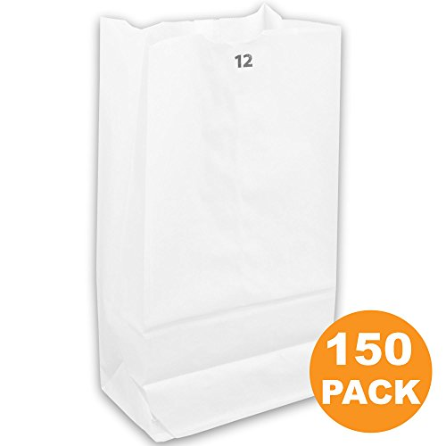 Heavy Duty White Paper Bags 13 x 7 x 4.5'' 12 LB Grocery Lunch Retail Shopping Durable Bleached Barrel Sack [150 Pack] by Fit Meal Prep