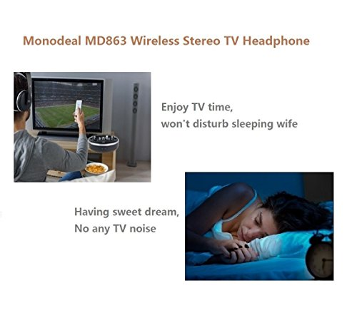 Wireless Universal TV Headphones, Monodeal Over-Ear Stereo RF Headphones with Charging Dock, Low Latency Volume Adjustable for Gaming TV PC Mobile, 25hr Battery Sound -1 Year Warranty by MONODEAL (Image #3)'