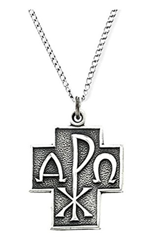 Sterling Silver Alpha Omega Chi-Rho Cross Necklace, ()