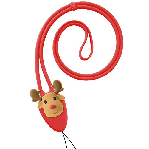 Bone Collection Soft Silicone Lanyard Neck Strap for Cell Phone Case Keychain ID Badge Name Card Holder - Red/Reindeer by Bone
