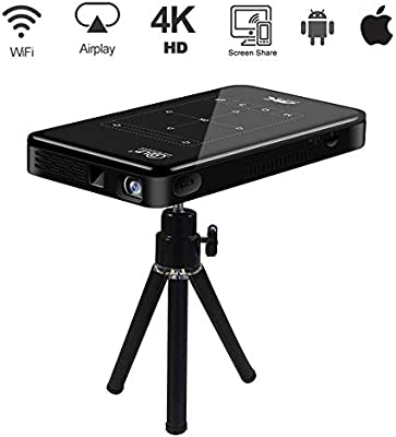 Proyector Portatil, Proyector 4K de Cine en Casa, Proyector para Movil WiFi, Touch Pad HD-IN Full HD Androd iOS Display DLP 200 TF-Card USB, para ...