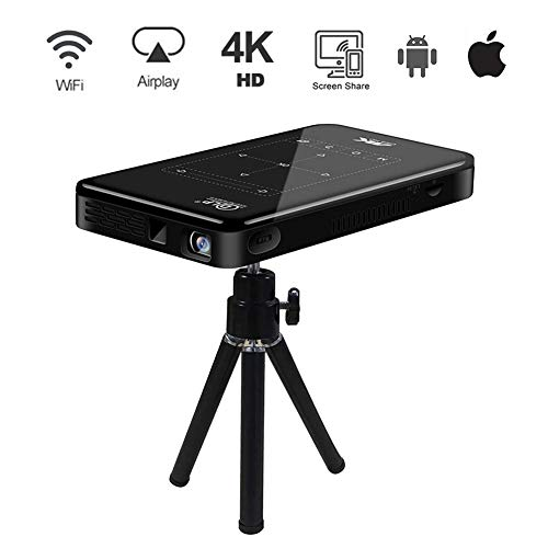 Therm 4K Mini Projector Android OS Smart Portable Wi-Fi Bluetooth Touch Pad Video Projector HDMI USB TF Card Home Office Cinema Laptop iPhone 4000mAh UK Socket