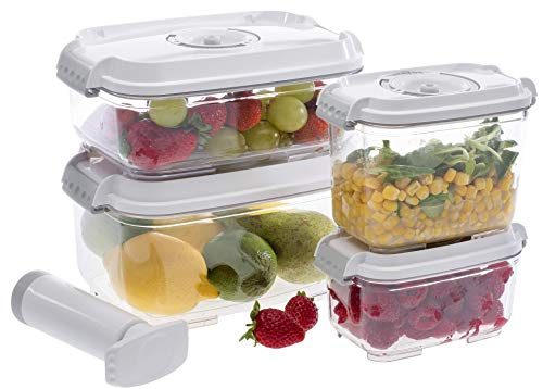 Prepsealer Vacuum Food Storage containers, BPA Free Tritan, 5-Piece Set- 0.5 L, 0.8 L, 1.4 L,2 L Container, Manual Pump, 2 Free Drip Trays, Made in Europe, Microwave, Dishwasher. Freezer Safe