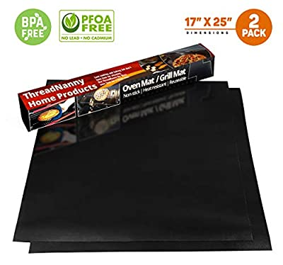 "2 Pack Large Thick Heavy Duty Teflon Oven Liners Mat, 17""x 25"" BPA and PFOA Free, FDA Approved for Electric Gas Microwave Ovens Charcoal or Gas Grills"