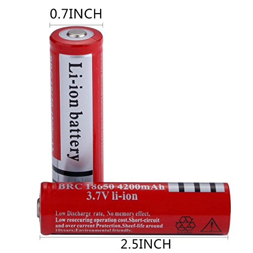 Deruicent 4 Pack 3.7V 18650 Rechargeable Li-ion Battery with Charger for High-Power LED Flashlights, Headlamps by Deruicent (Image #3)