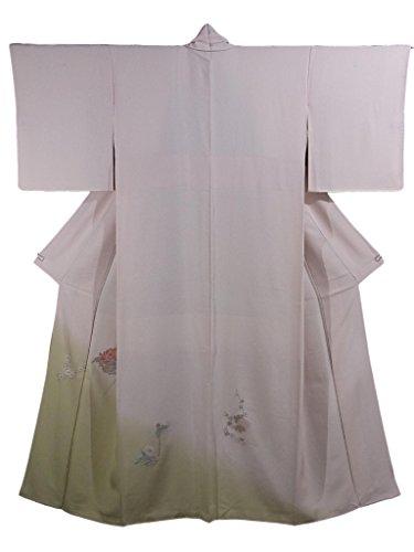 連鎖ポスト印象派アーティストリサイクル 着物 色留袖 相良刺繍 四季花文様 正絹 袷 裄63.5cm 身丈160cm