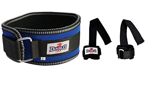 Diablo Back Support Gym Lumber Blue Belt with Weight Lifting Bar Straps Combo Pack
