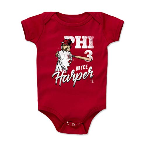 - 500 LEVEL Bryce Harper Philadelphia Baseball Baby Clothes, Onesie, Creeper, Bodysuit (6-12 Months, Red) - Bryce Harper Team W WHT