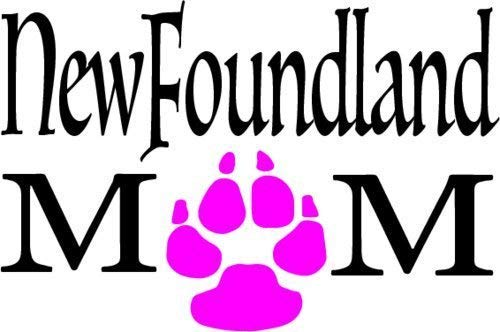 ION Graphics Pink Paw Newfoundland Mom Vinyl Window Decal - Dog Breed Bumper Sticker - Perfect Pet Owner Gift Size: 4 X 3 inch