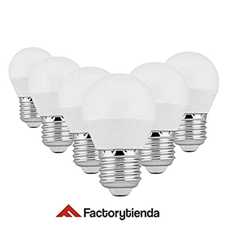 Pack x6 Bombillas LED Esférica G45 E27, 7W equivalente a 70W, 560 lúmenes,