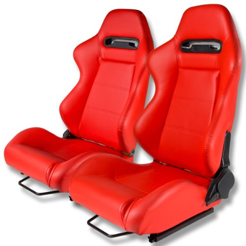 Seats Style Racing - Type-R Style Red Faux Leather Reclinable Sport Racing Seats With Red Stitch Set of 2