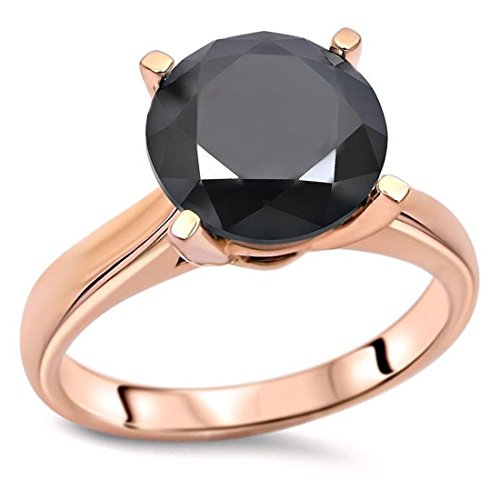Skyjewels 3.10 ct Certified Black Diamond Solitaire Ring in 925 Silver.AAA.Certified by skyjewels
