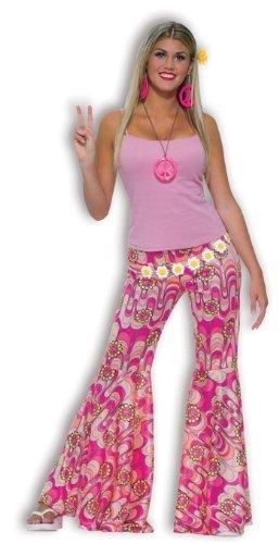 Forum Novelties Women's 60's Hippie Flower Power Bell Bottoms Adult Costume, Pink, One Size]()