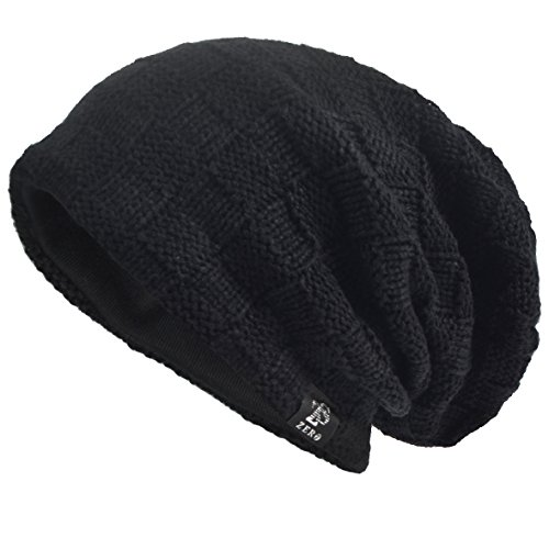 Men's Cool Cotton Beanie Slouch Skull Cap Long Baggy Hip-hop Winter Summer Hat (Checked-Black)