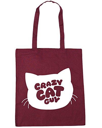 HippoWarehouse Crazy Cat Guy Tote Compras Bolsa de playa 42cm x38cm, 10litros, amarillo (amarillo) - 15412-TOTE-Yellow granate