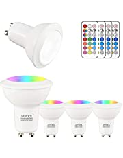 Jayool GU10 Ampoules LED, Dimmable 3W Changement de Couleur Spot Light avec Télécommande, RGB + Blanc Chaud, Timier, 45° Angle de Faisceau (Lot de 4)