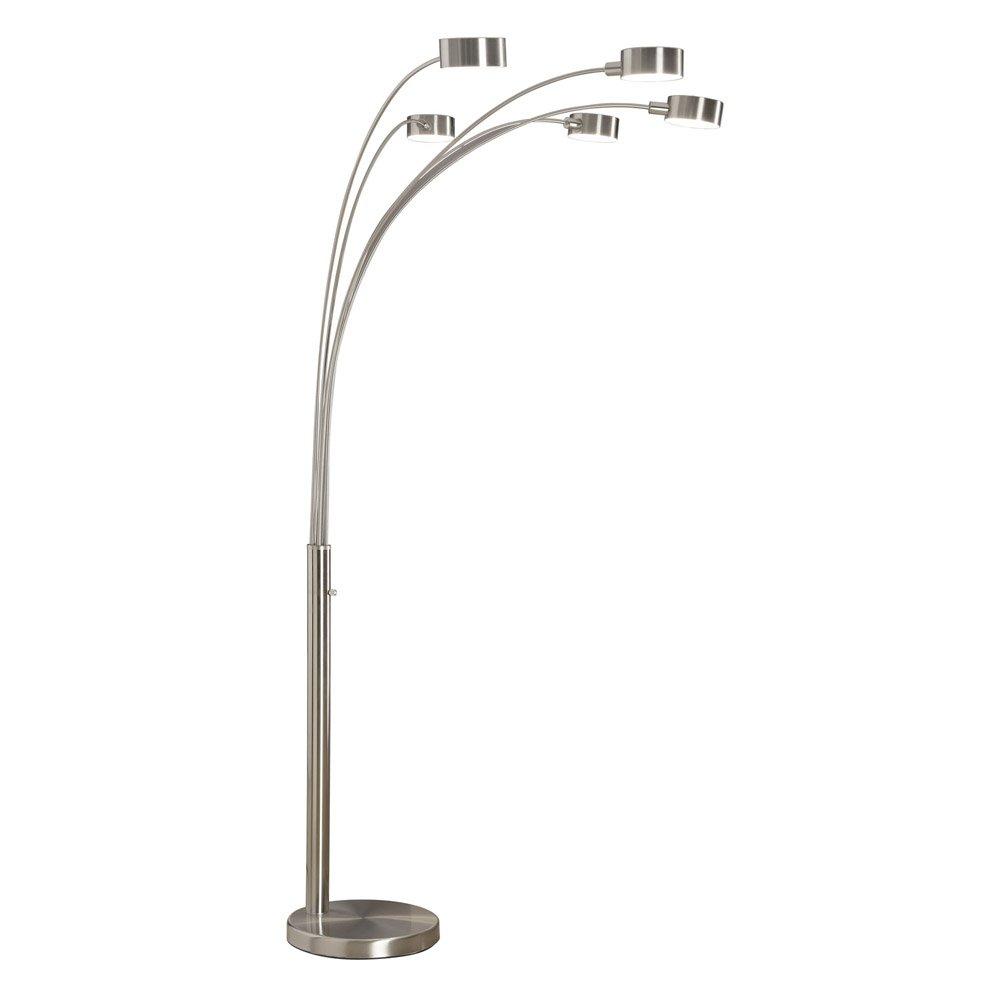 Amazon.com: Artiva USA Micah   Modern U0026 Stylish   5 Arc Brushed Steel Floor  Lamp W/ Dimmer Switch, 360 Degree Rotatable Shades   Dim Options   Bright  ...