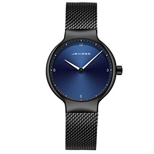 Women's Ultra-Thin Watch, Stainless Steel Slim Women's Watch,Women's Fashion Minimalist Quartz Watch,Blue Face, Black Milanese Mesh Band Blue(Ultra-Thin 6mm) ()