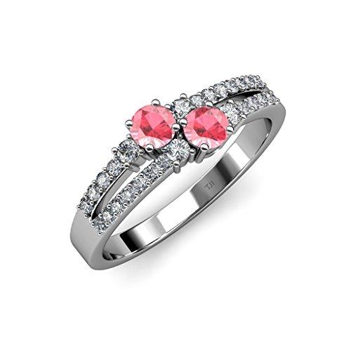 TriJewels Pink Tourmaline 2 Stone Side Diamonds Engagement Ring 0.96 ctw 14K White Gold.size 6.0
