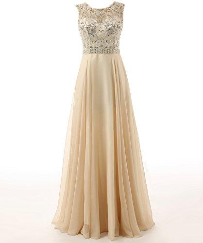A Formal Luxury Linie Gown Changjie Abiballkleid Lange Abendkleider Damen Chiffon Kristall Perlen Beige wqn0AnxfCZ