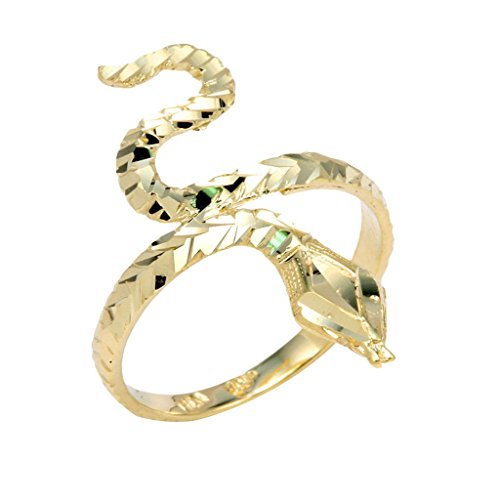 (Stunning 14k Yellow Gold Band Infinity Water Sea Snake Head Ring (Size 8.75))