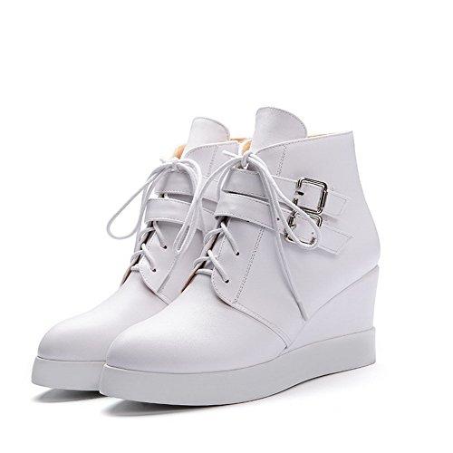 VogueZone009 Damen Rein Hoher Absatz Rund Zehe Reißverschluss Stiefel mit Schnalle Weiß