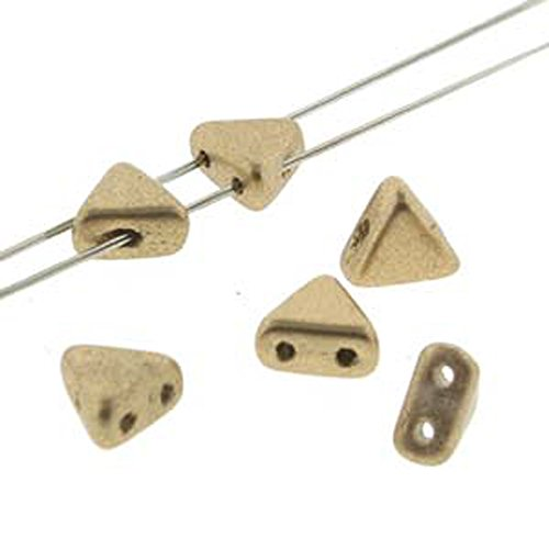 (Czech Kheops Puca Beads 6mm Two-hole Flat Triangle Beads 9 Grams - Light Gold MATTE )