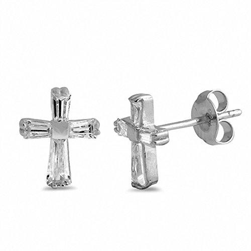 Baguette Simulated Cubic Zirconia Cross Stud Earrings 925 Sterling Silver