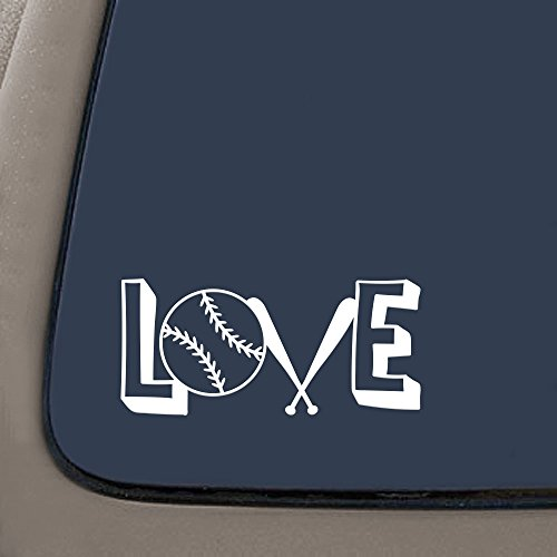DD996W Love Baseball Spelled Out Decal Sticker | 5.5-Inches By 2.5-Inches | Premium Quality White Vinyl