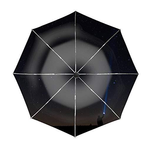 Starry Sky Man Lantern Night Travel Umbrella, Automatic Folding Umbrella, Compact 46 Inch Rain Umbrella for Men Women, Auto Open Close