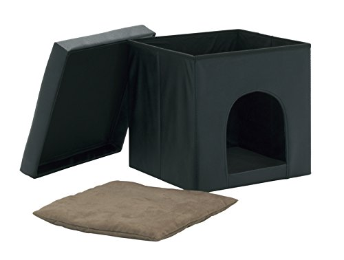Studio Designs 61000 Paws & Purrs Collapsible Pet Bed and Ottoman - Black