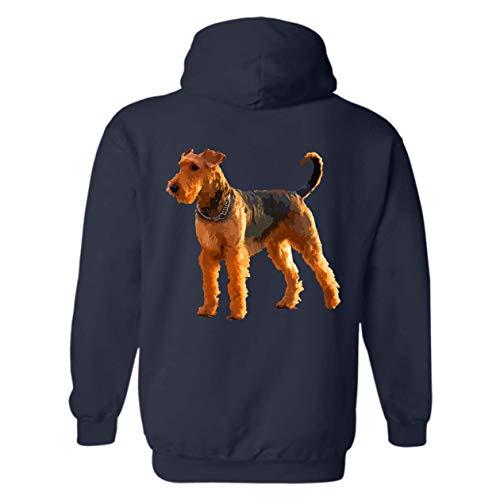 Hoodie Mens Terrier Airedale (Six Crab Airedale Terrier Hoodie Sweatshirt, Long Sleeve Hooded (L,Navy))
