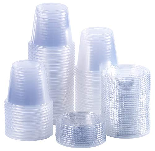 Disposable portion cups souffle cups with lids, set of 100 (5.5 oz)