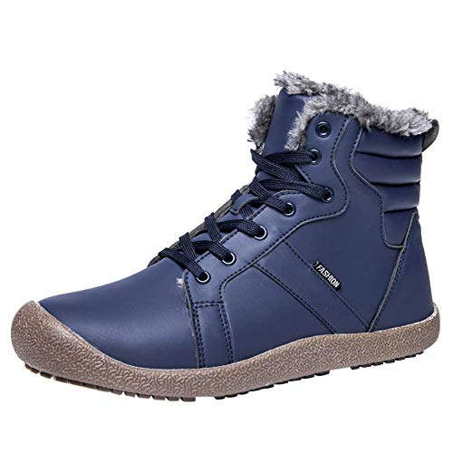 Mysky Couple Women's Warm Leather Running Sneakers Shoes Ladies Casual Solid Outdoor Running Skiing Boots Blue (Brookhaven Leather)