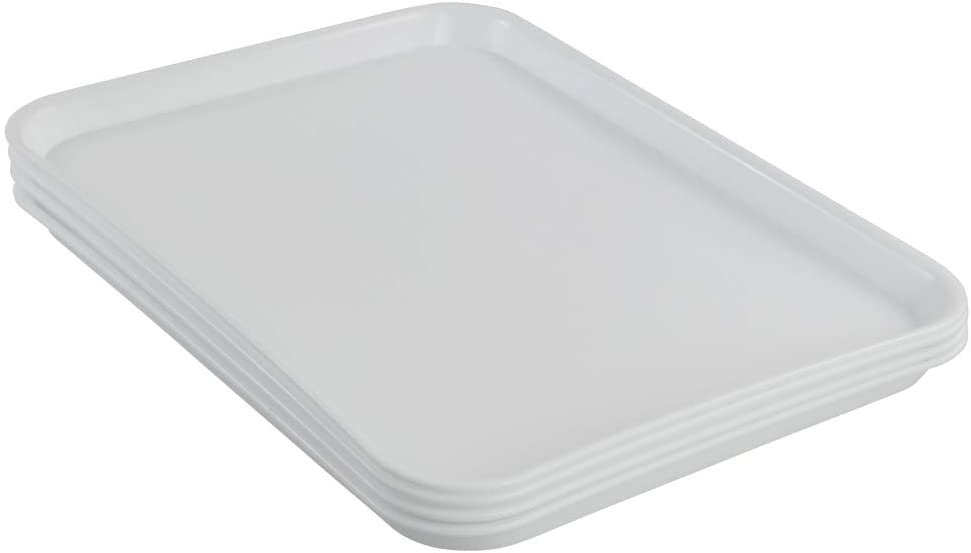 Kekow 4-Pack White Plastic Fast Food Serving Trays