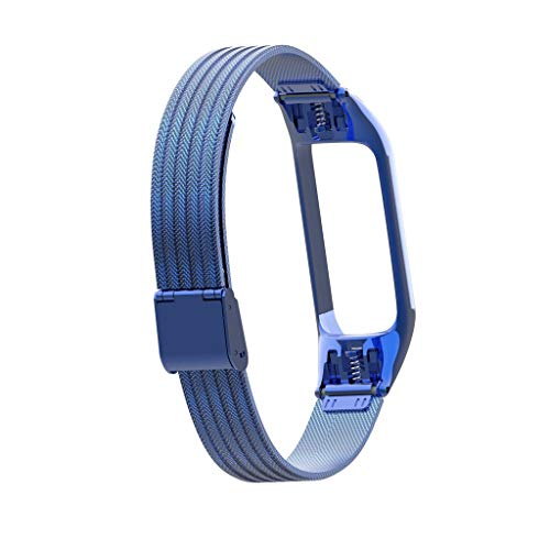 Finedayqi ❤ Luxury Stainless Steel Metal Wrist Strap Wristband for Xiaomi Mi Band 3 Watch (Blue) by Fineday (Image #4)