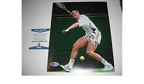 Autographed Boris Becker Photo - German Champ Beckett coa 8x10 - Beckett Authentication - Autographed Tennis Photos at Amazons Sports Collectibles Store