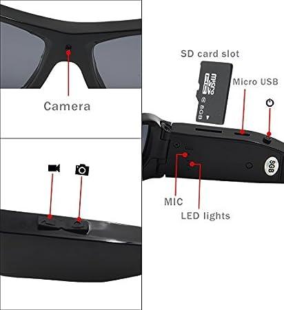 forestfish Gafas de sol con cámara HD 720P Gafas de cámara espía con grabador de vídeo con tarjeta SD de 8 GB polarizadas gafas de deporte, color negro: ...