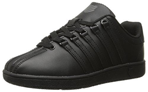 Black Kid Leather - K-Swiss Kid's Classic VN Shoe, Black/Black, 6 W US Big Kid