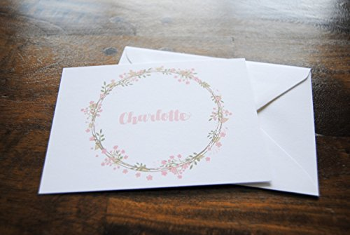 Custom Stationery, CHARLOTTE, Thank you Cards Set, Laurel Wreath, Pink Flowers, Custom Notecards, Flat Notecards, Cute Cards, Personalized, Set of 10 Flat Cards & 10 Envelopes, Select Colors & Fonts (Card Wreath Flat)