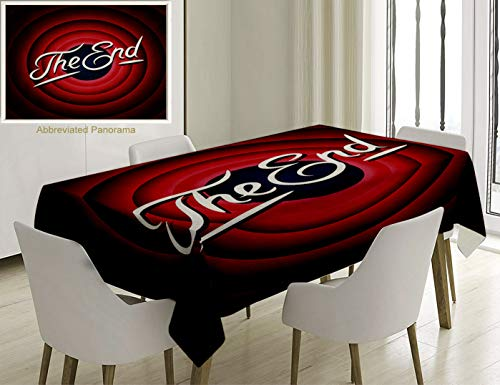 (Unique Custom Cotton And Linen Blend Tablecloth Movie Ending Screen Academy Dated Broadcast Entertainment Show Oscar Cinema Frame Image Red Navy WhiteTablecovers For Rectangle Tables, 70 x 52)