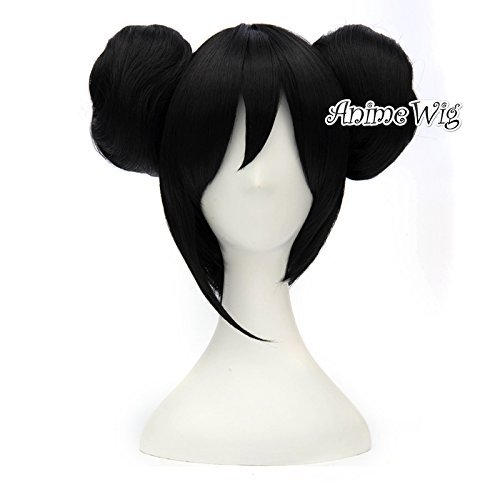 Fashion Black 12 Inches Girls Cosplay Anime Wig With Two Buns+Cap ()