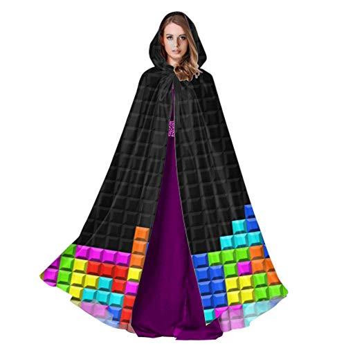 Color Game Three-Dimensional Block Russian Tetris Men Cloak with Hood Womens Cloak Cape 59inch for Christmas Halloween Cosplay Costumes