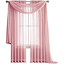 "Jane - Rod Pocket Semi-Sheer Curtains - 2 Pieces - Total Size 108"" W x 84"" L - Natural Light Flow Material Durable - for Bedroom - Living Room - Kid's Room and Kitchen (Rose)"