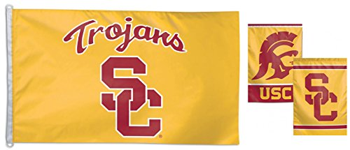 (WinCraft Bundle 2 Items: USC Trojans 1 Flag 3x5 Foot and 1 Garden Flag 12.5x18 inches)