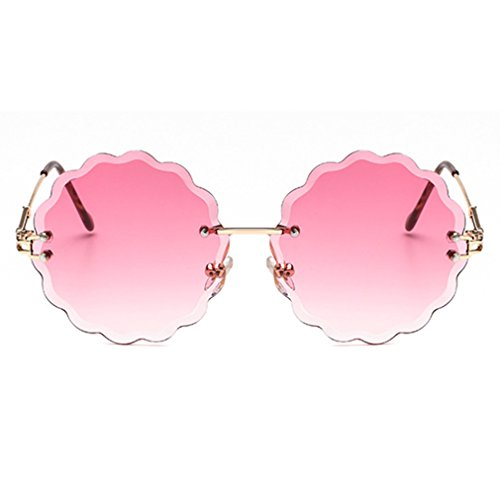 Armear Rimless Transparent Tinted One Piece Round Sunglasses Women Flower Shaped Non Polarized (Gold/Pink, -