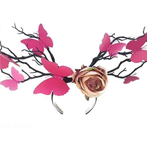 (Meen Cos Headwear,Elf Queen Tree Head Headdress COS Stage Exaggerated Style Headdress (Color : Rosso Arancio))