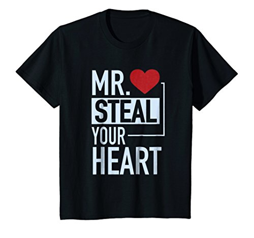 Kids Cute Mr. Steal Your Heart Valentine's Day T-Shirt 8 Black