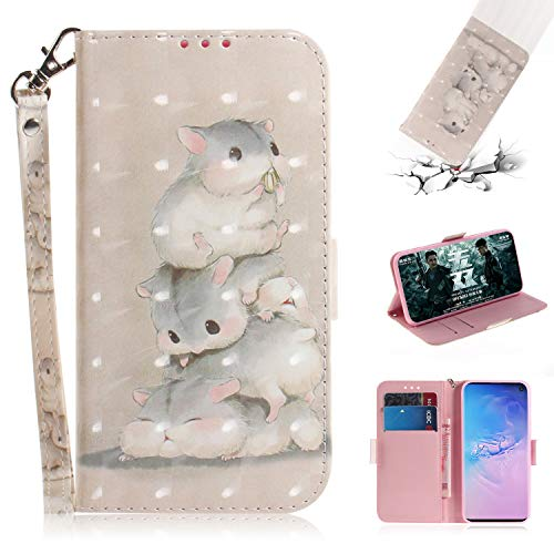 Galaxy S10 Case, for [S10], MerKuyom [Wrist Strap] [Kickstand] PU Leather Wallet Pouch [Card Holder] Protective Flip Cover Case for Samsung Galaxy S10 6.1-inch, W/Stylus (Cute Mouse Pattern)