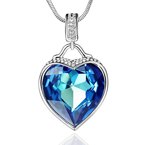 "SYLVICA Swarovski Crystal Necklce - Heart Pendant Necklace Made with Swarovski Crystals Blue "" Heart of the Ocean "" Fashion Jewelry for Women - Best for Birthday Anniversary Gift"